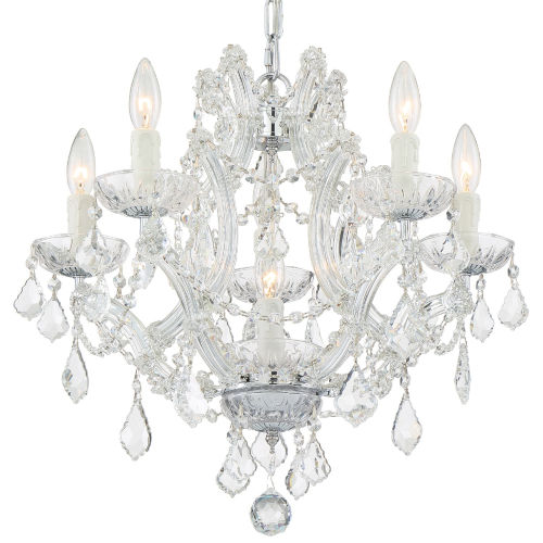Traditional Crystal Polished Chrome Six-Light Chandelier with Swarovski Strass Crystal