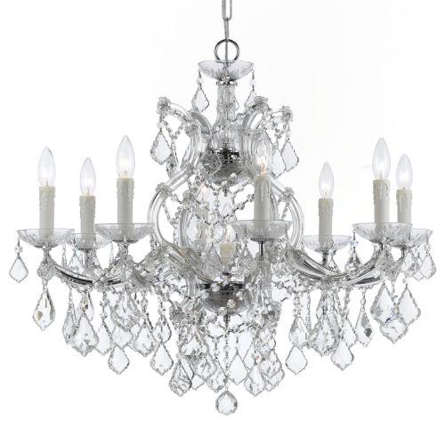 Maria Theresa Polished Chrome Nine-Light Chandelier with Clear Swarovski Strass Crystal