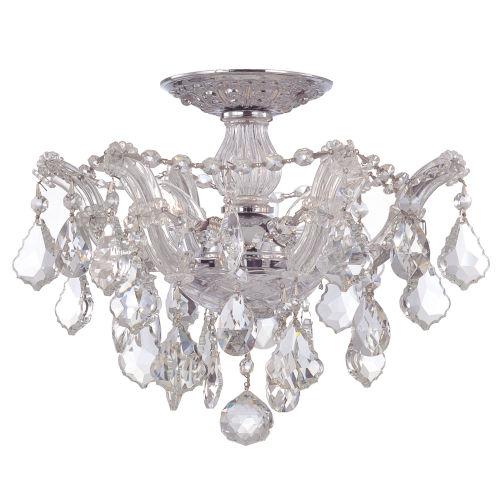 Maria Theresa Polished Chrome Three-Light Semi Flush Mount with Hand Polished Crystals