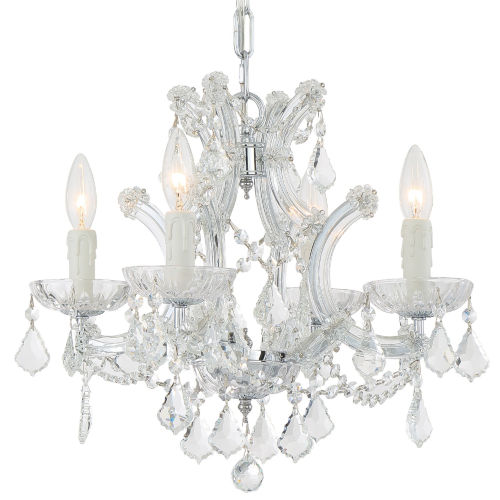 Maria Theresa Polished Chrome Four-Light Chandelier with Swarovski Spectra Crystal