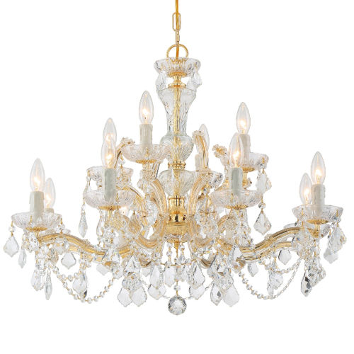 Maria Theresa Gold Twelve Light Chandelier with Clear Hand Cut Crystal