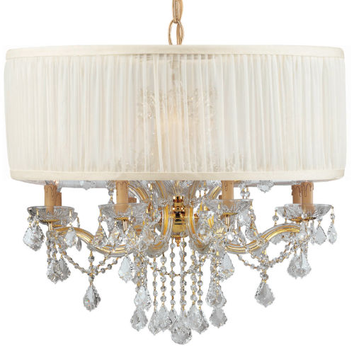 Brentwood Gold Twelve-Light Pendant Draped In Clear Hand Cut Crystal