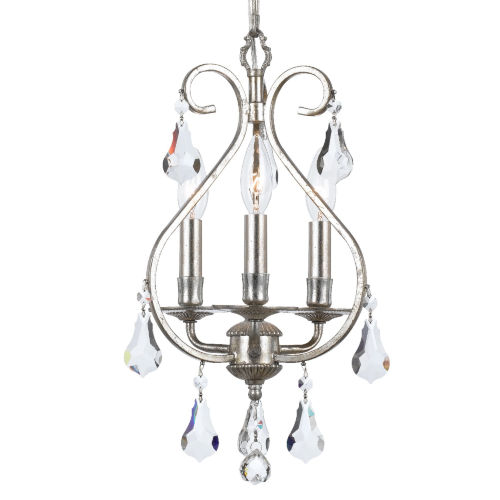 Ashton Olde Silver Three Light Mini Chandelier with Hand Cut Crystal