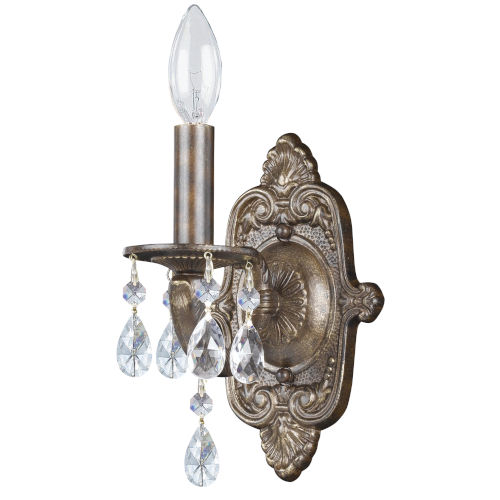 Hampton Venetian Bronze Ornate One-Light Wall Sconce Draped with Clear Hand Cut Crystal