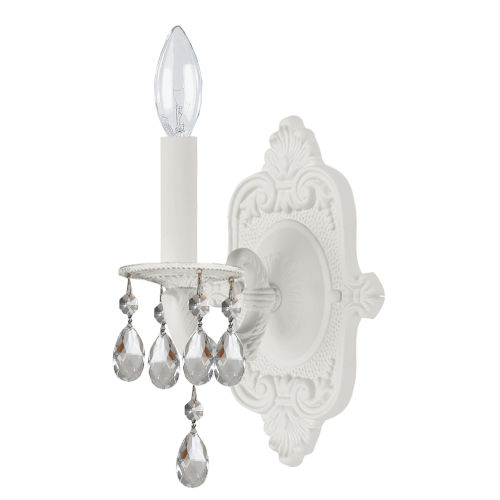 Paris Flea Market Wet White One-Light Wall Sconce with Hand Polished Crystal