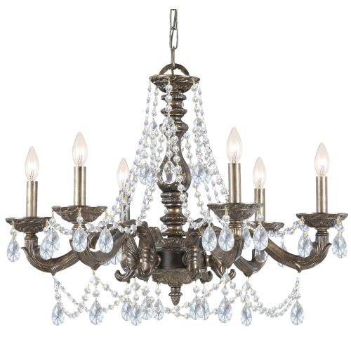 Hampton Venetian Bronze Ornate Chandelier Draped with Clear Hand Cut Crystal