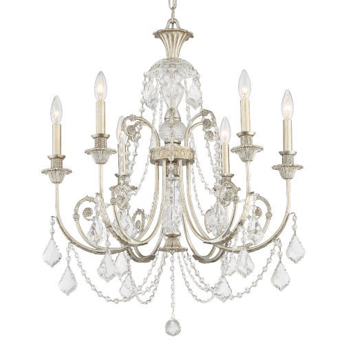 Regis Olde Silver Six-Light Chandelier with Swarovski Spectra Crystal