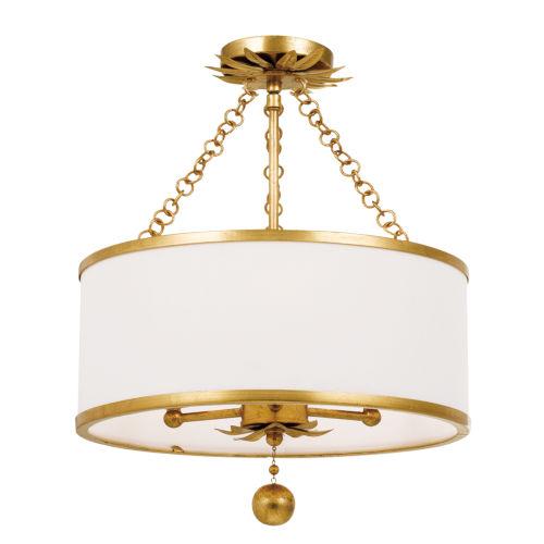 Broche Antique Gold Three-Light Semi-Flush Mount