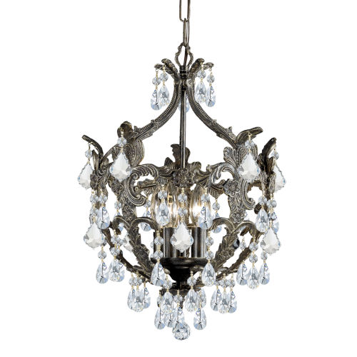 Legacy English Bronze Five Light Mini-Chandelier with Clear Spectra Crystal