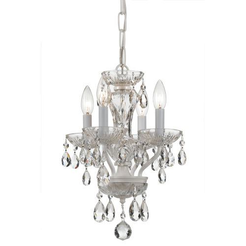 Traditional Crystal Wet White 11-Inch Four-Light Mini Chandelier