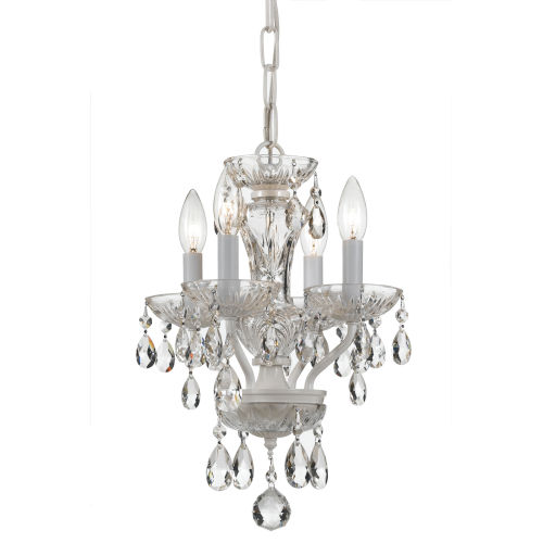 Traditional Wet White Four Light Mini-Chandelier with Clear Swarovski Strass Crystal