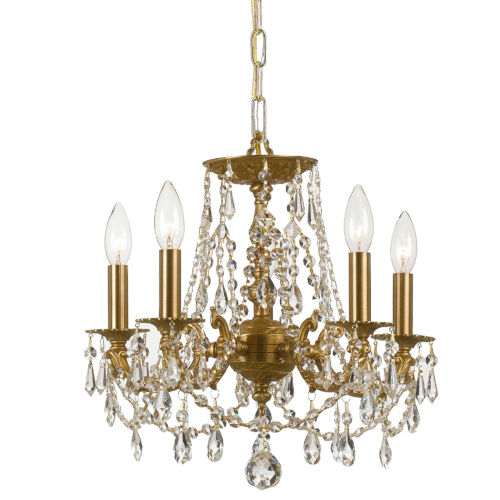 Mirabella Aged Brass Five-Light Chandelier with Hand Polished Crystal