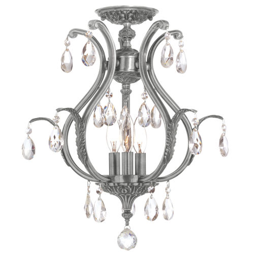 Dawson Pewter 16-Inch Six Light Elements Crystal Semi Flush Mount