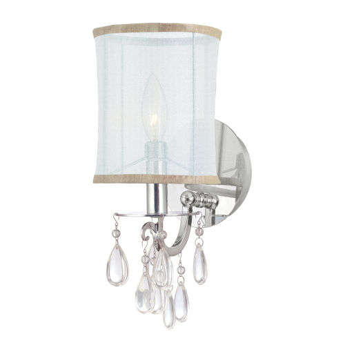 Hampton Polished Chrome One-Light Wall Sconce with Clear Smooth Oyster Crystals