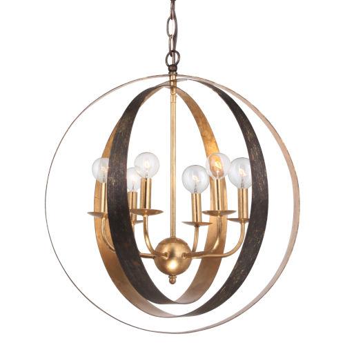 Luna English Bronze and Antique Gold Six Light Sphere Large Chandelier
