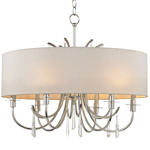 Cody Polished Nickel Six Light Chandelier with Clear Hand Cut Crystal