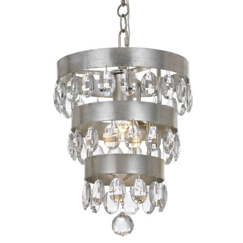 Perla Antique Silver Mini Pendant with Clear Elliptical Faceted Crystal