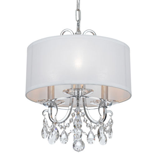 Othello Polished Chrome Three Light Fifteen Inch Mini-Chandelier with Clear Spectra Crystal