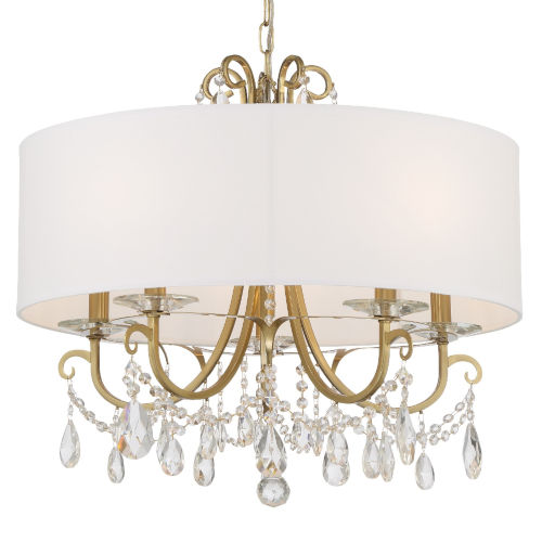 Othello Vibrant Gold 24-Inch Five-Light Hand Cut Crystal Chandelier