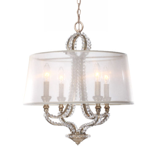 Garland Distressed Twilight Four-Light Crystal Bead Mini Chandelier