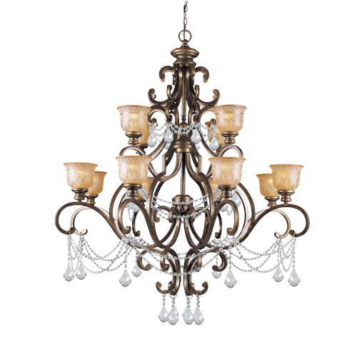 Norwalk Bronze Umber Twelve-Light Chandelier with Swarovski Strass Crystal