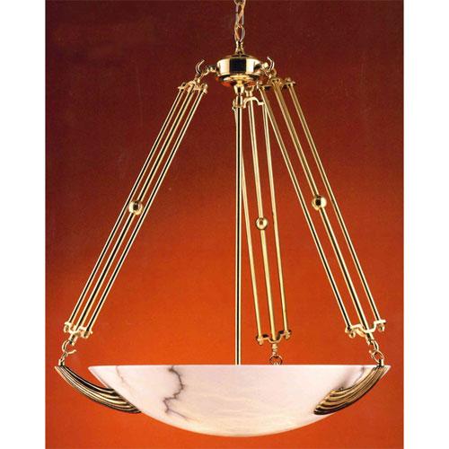 Hot Deal Polished Brass Five-Light Chandelier