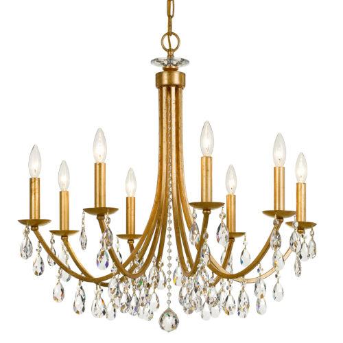 Bridgehampton Antique Gold 28-Inch Eight-Light Faceted Crystal Chandelier