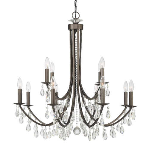 Bridgehampton Vibrant Bronze 32-Inch 12-Light Hand Cut Crystal Chandelier