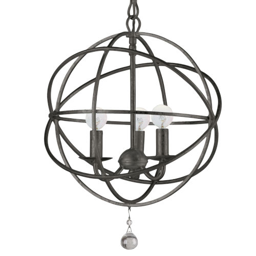 Solaris English Bronze Three-Light Chandelier