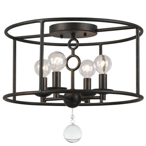Cameron English Bronze Four-Light Flush-Mount Fixture