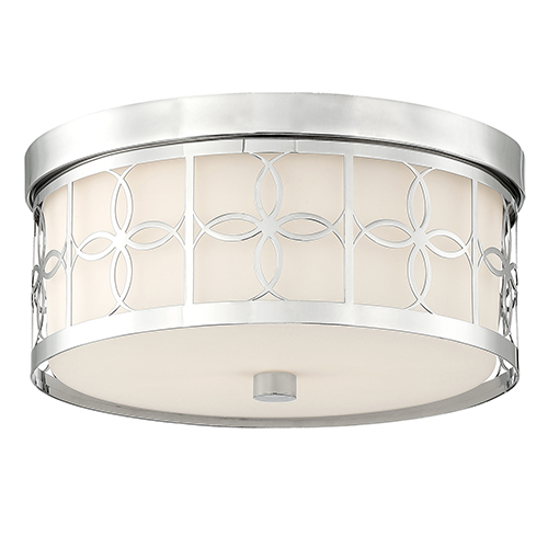 Crystorama Lighting Group Anniversary Polished Nickel Two-Light Drum Flush Mount