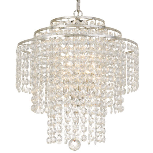 Arielle Silver Three-Light Chandeliers