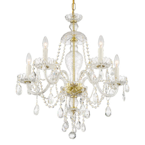 Candace Polished Brass 28-Inch Five-Light Hand Cut Crystal Chandelier