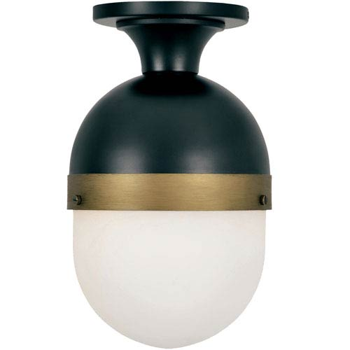 Capsule Matte Black and Textured Gold One-Light Outdoor Ceiling Mount
