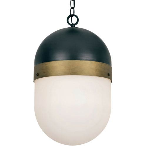 Capsule Matte Black and Textured Gold Three-Light Outdoor Pendant
