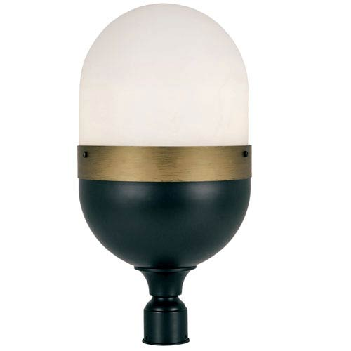 Capsule Matte Black and Textured Gold Three-Light Outdoor Lantern Post