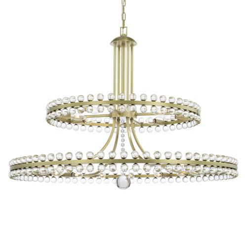 Crystorama Lighting Group Clover Aged Brass 24-Light Chandelier