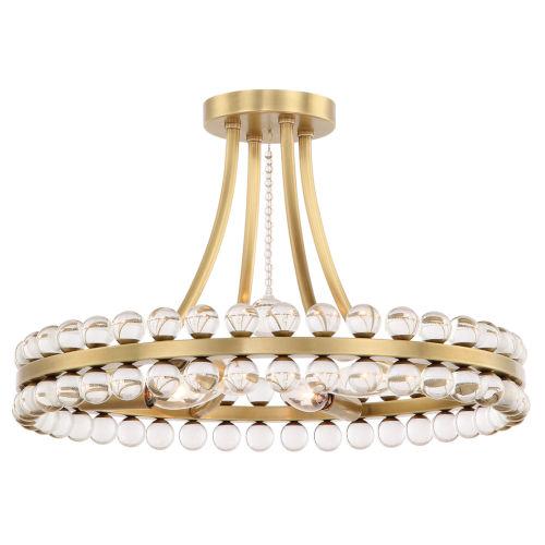 Clover Four-Light Aged Brass Ceiling Mount