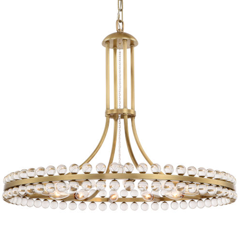 Clover Twelve-Light Aged Brass Chandelier