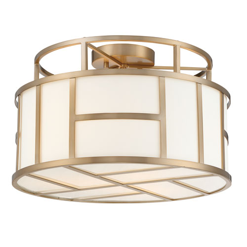 Crystorama Lighting Group Danielson Vibrant Gold Three-Light Flush Mount with Clear Glass Crystal Beads
