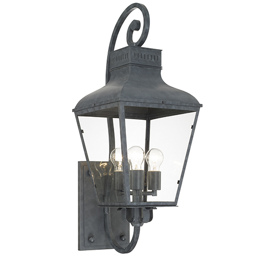 Crystorama Lighting Group Dumont Graphite 32-Inch High Three-Light Outdoor Wall Mount