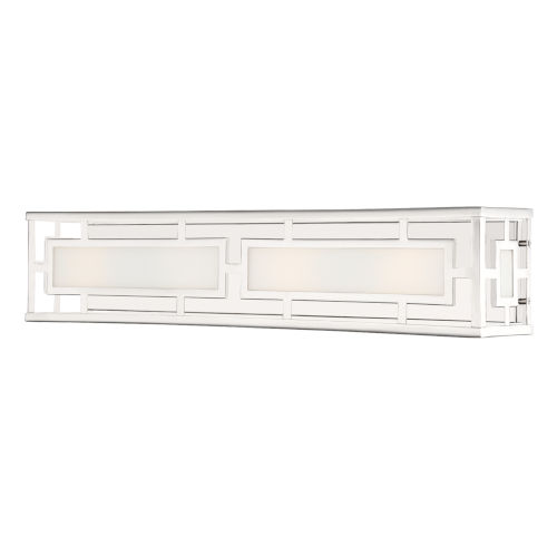 Hillcrest Polished Nickel Four-Light Bath Lighting with White Silk Glass Panels Shade