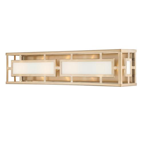 Hillcrest Vibrant Gold Four-Light Bath Lighting with White Silk Glass Panels Shade