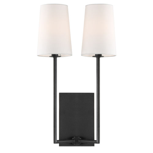 Lena Two-Light Black Forged Wall Sconce