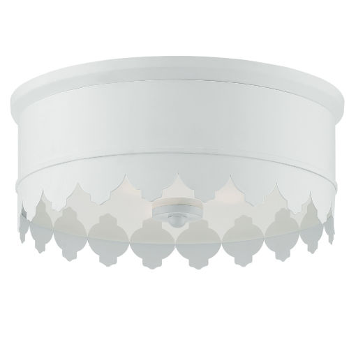 Nina Matte White 14-Inch Three-Light Flush Mount