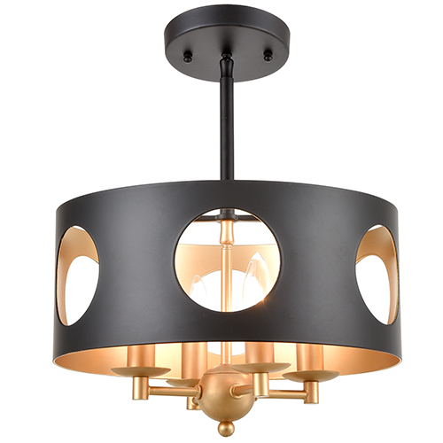 Crystorama Lighting Group Odelle Matte Black and Antique Gold Four-Light Ceiling Pendant