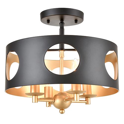 Odelle Matte Black and Antique Gold Four-Light Semi Flush Mount