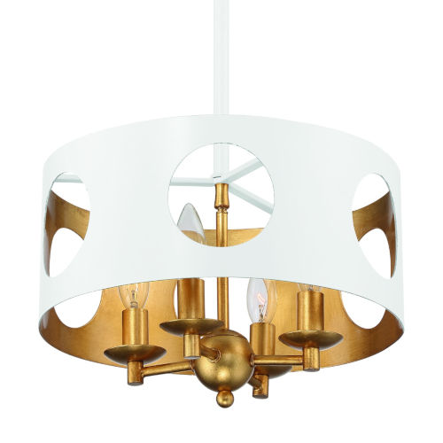 Odelle Matte White and Antique Gold Four-Light Ceiling Pendant