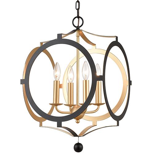 Crystorama Lighting Group Odelle Matte Black and Antique Gold Four-Light Chandelier