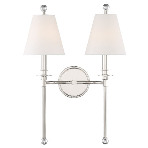 Riverdale Polished Nickel 15-Inch Two-Light Wall Sconce